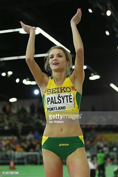 Airine Palsyte of Lithuania applauds the crowd as she competes in the Women's High Jump Final during day four of the IAAF World Indoor Championships...