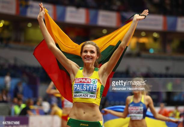 Airine Palsyte of Lithuania celebrates after winng the gold medal during the Women's High Jump final on day two of the 2017 European Athletics Indoor...