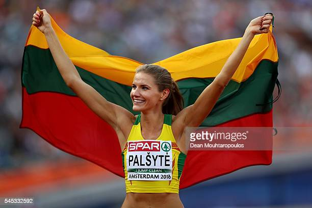 Airine Palsyte of Lithuania celebrates after winning a silver medal in the final of the womens high jump on day two of The 23rd European Athletics...