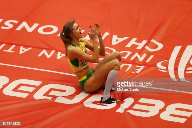 Airine Palsyte of Lithuania celebrates after winning the gold medal in the Women's High Jump final on day two of the 2017 European Athletics Indoor...