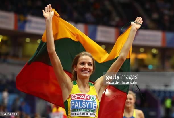 Airine Palsyte of Lithuania celebrates after winning the gold medal during the Women's High Jump final on day two of the 2017 European Athletics...