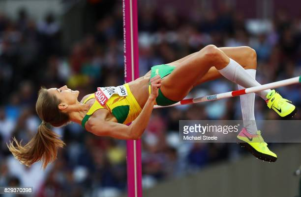Airine Palsyte of Lithuania clears the bar as she competes during the womens high jump Qualification during day seven of the 16th IAAF World...