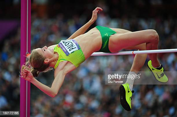 Airine Palsyte of Lithuania competes during the Women's High Jump Final on Day 15 of the London 2012 Olympic Games at Olympic Stadium on August 11...