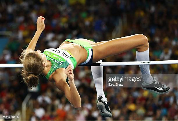 Airine Palsyte of Lithuania competes during the Women's High Jump Final on Day 15 of the Rio 2016 Olympic Games at the Olympic Stadium on August 20...