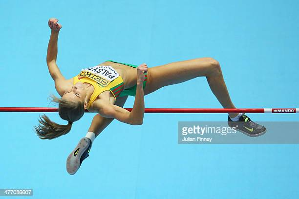 Airine Palsyte of Lithuania competes in the Women's High Jump qualification during day one of the IAAF World Indoor Championships at Ergo Arena on...