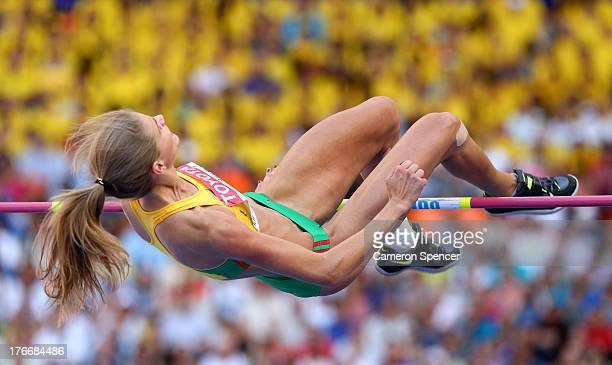 Airine Palsyte of Lithuania competes in the Women's High Jump final during Day Eight of the 14th IAAF World Athletics Championships Moscow 2013 at...
