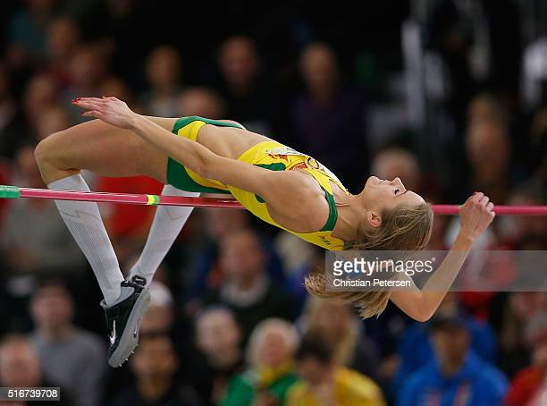 Airine Palsyte of Lithuania competes in the Women's High Jump Final during day four of the IAAF World Indoor Championships at Oregon Convention...
