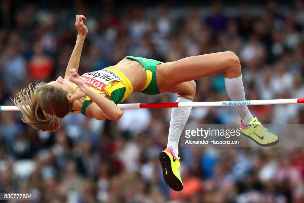 Airine Palsyte of Lithuania competes in the Women's High Jump final during day nine of the 16th IAAF World Athletics Championships London 2017 at The...