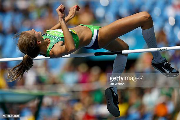 Airine Palsyte of Lithuania competes in Women's High Jump Qualifying on Day 13 of the Rio 2016 Olympic Games at the Olympic Stadium on August 18 2016...