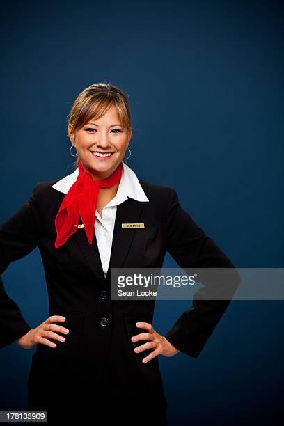 Airline: Cheerful Flight Attendant
