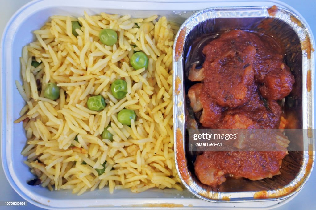 Airline Food in Airplane : Stock Photo