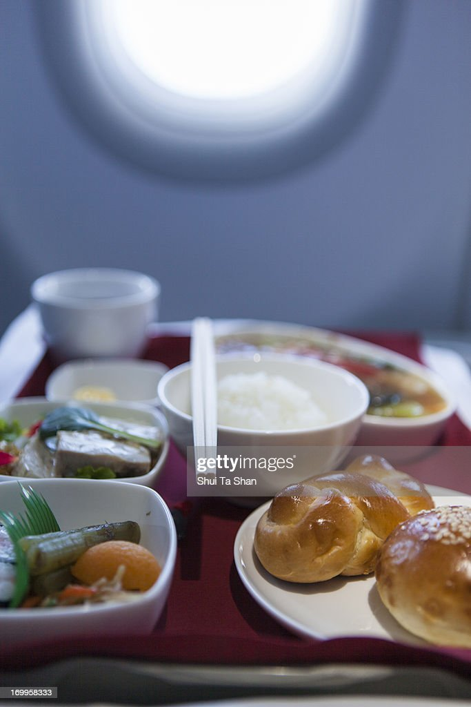 Airline meal, business class : Stock Photo