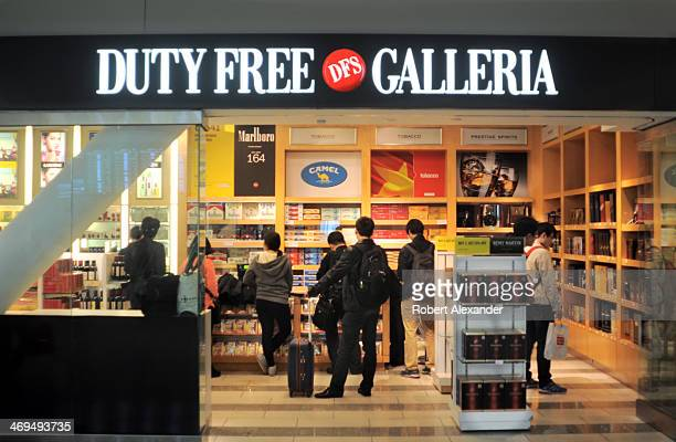 Airline passengers browse in the DFS Duty Free Galleria at San Francisco International Airport in San Francisco, California.