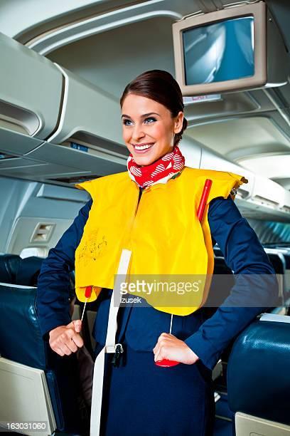 demonstração de segurança em aviões - life jacket photos - fotografias e filmes do acervo