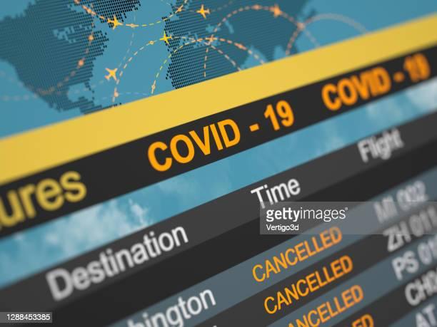 航空会社のスケジュールは飛行方向をキャンセルしました。抽象的な3dコンセプト。covid 19 - 取り消し ストックフォトと画像