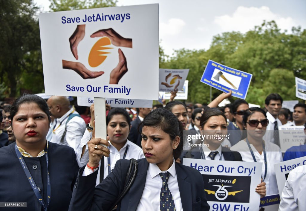 IND: Jet Airways Employees Protest At Jantar Mantar