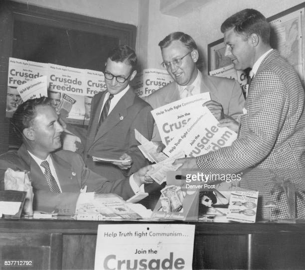 Airline Starts Crusade Drive Armed with posters pledge books coin boxes and lapel buttons department heads of chief accountant and Lyon H Dennis vice...