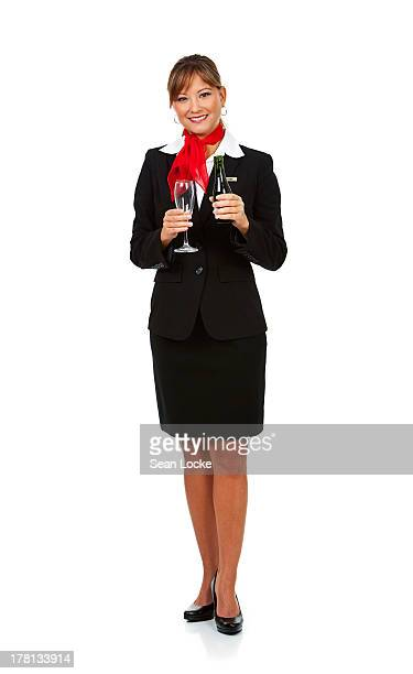 Airline: Stewardess Holding Wine Glass