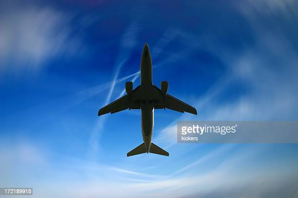 airliner and fantasy sky - fuselage stock photos and pictures