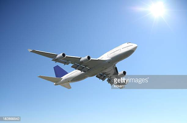 Airliner in clear sunny sky