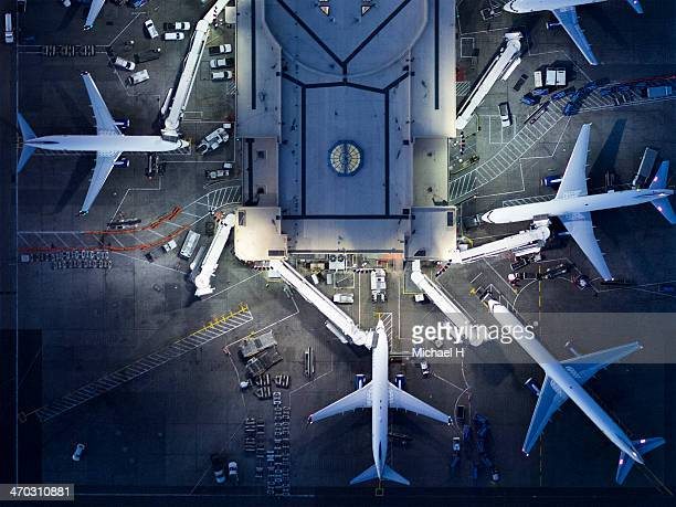 airliners at  gates and control tower at lax - built structure stock pictures, royalty-free photos & images