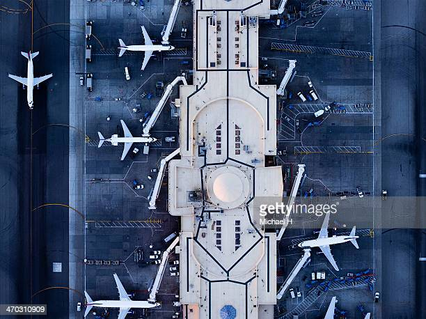 Airliners at  gates and Control Tower at LAX