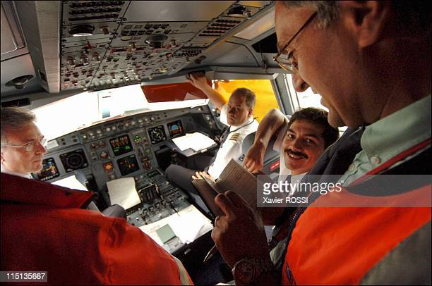 Airliners control by the DGAC on the airport of Roissy Charles of Gaulle in Roissy France on August 24 2005 Control licence of the copilot on a...