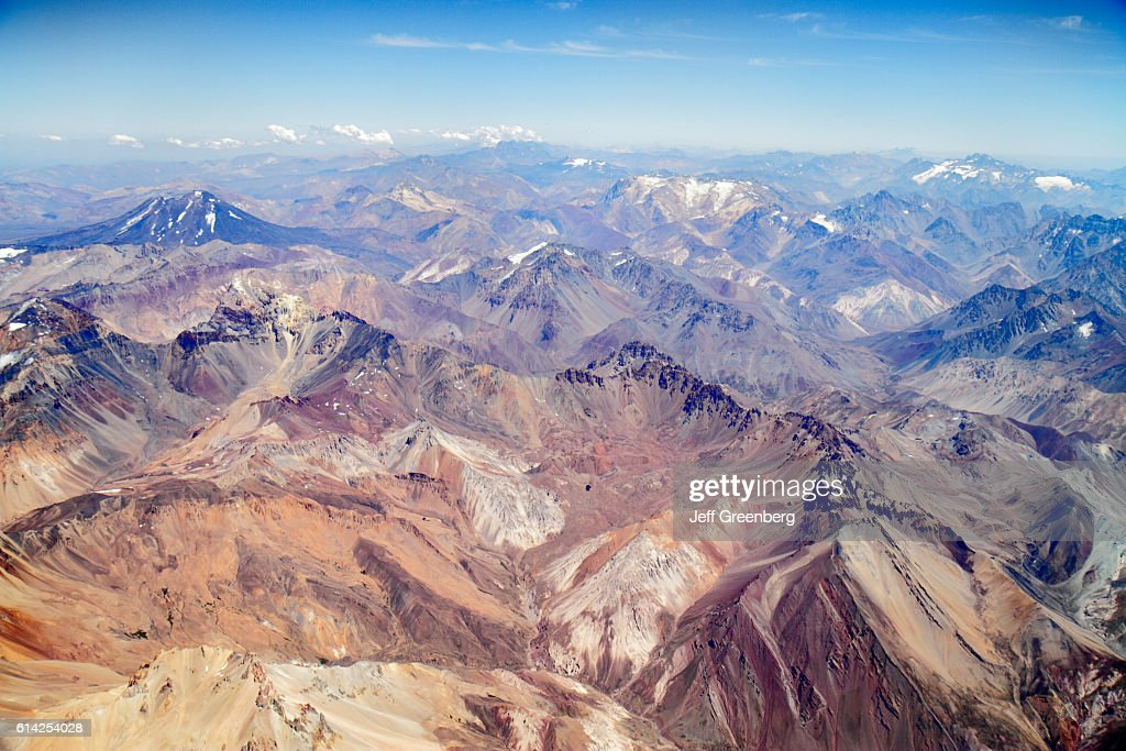 LAN Airlines flight to Mendoza, window seat view of the Andes Mountains. : News Photo