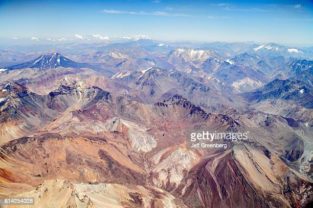 LAN Airlines flight to Mendoza window seat view of the Andes Mountains