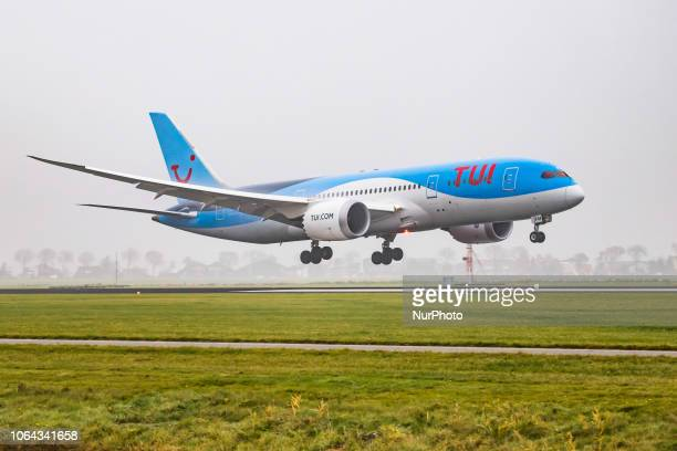 Airlines Netherlands Boeing 787-8 Dreamliner landing in the mist in Amsterdam Schiphol International Airport. The aircraft registration is PH-TFM....