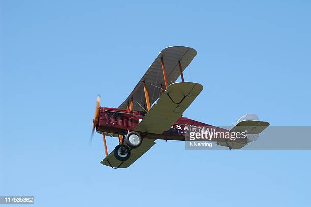 US airmail biplane De Havilland DH4 airplane flying