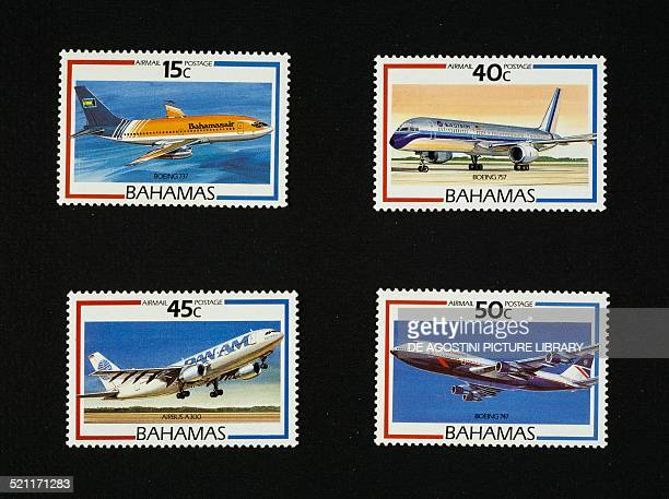 Airmail stamps from the Airliners series depicting from left to right and from top to bottom Bahamasair Boeing 737 Eastern airlines Boeing 757 Pan Am...