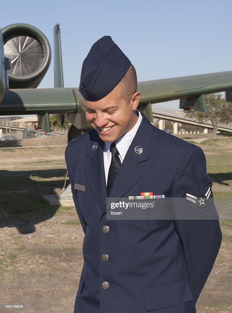 Airman in Uniform with a Casual Unposed Smile : Stock Photo