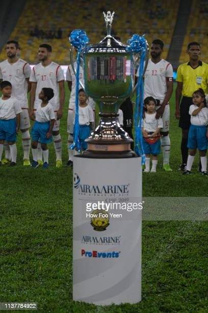 Airmarine Cup on display during the Airmarine Cup final between Singapore and Oman at Bukit Jalil National Stadium on March 23 2019 in Kuala Lumpur...