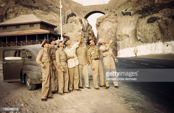 Airmen sightsee near a US Army Air Force base circa 1943 in Aden Yemen