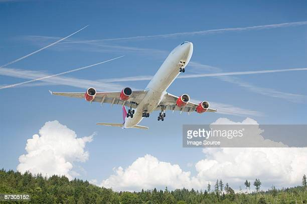 Airplane above a forest