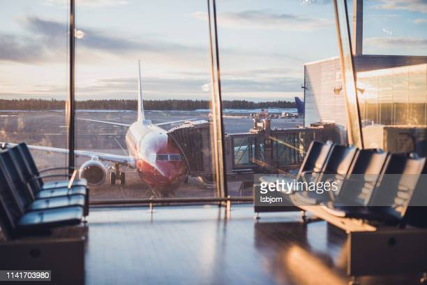 airplane at airport. - flying stock pictures, royalty-free photos & images