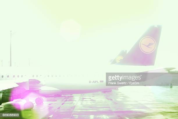 airplane at airport runway against sky on sunny day - frank swertz stock pictures, royalty-free photos & images