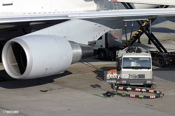 Airplane being refueled