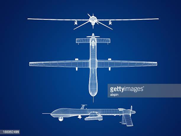 uas airplane blueprint graphic - military drones stock photos and pictures