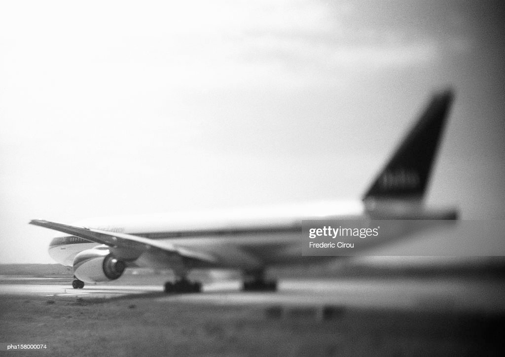 Airplane, b&w. : Stock Photo