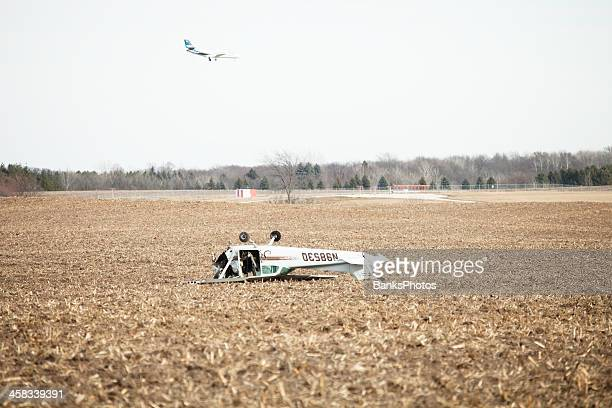 Airplane Crash on Farm Field with Landing Jet