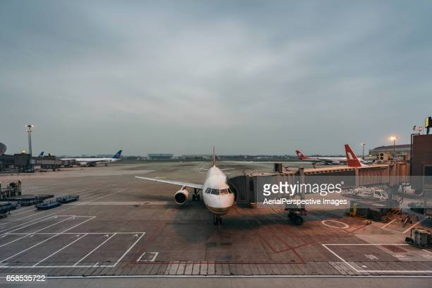 Chengdu, Sichuan, China - October 05, 2016: Airplane Docked