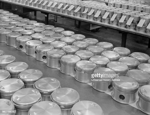 Airplane Engine Pistons Complete with Rings are Lined up for Assembly at Manufacturing Plant Pratt Whitney East Hartford Connecticut USA Andreas...