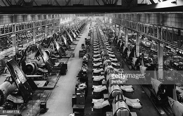 Airplane factory in Stratford Connecticut World War II which produced over 6000 Corsairs fighter planes with foldup wings for use on board aircraft...