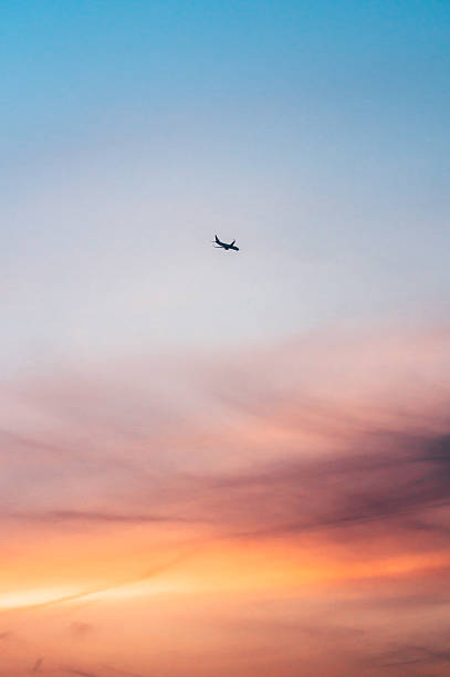 Airplane Flying Against Colorful Sunset Sky Wall Art