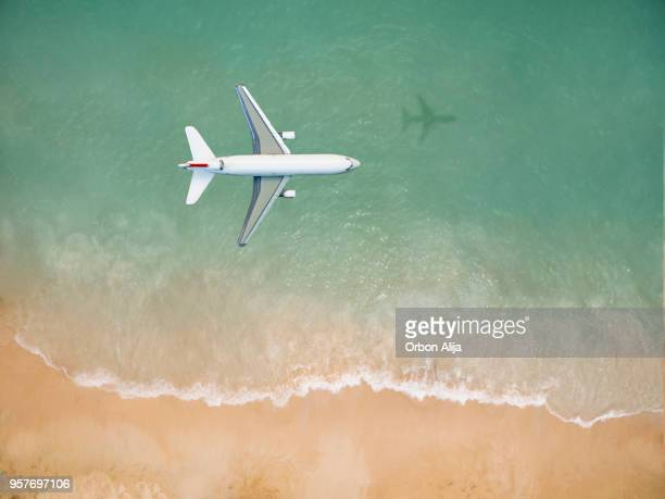 Airplane flying over the beach
