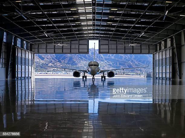 Airplane Hangar and Jet