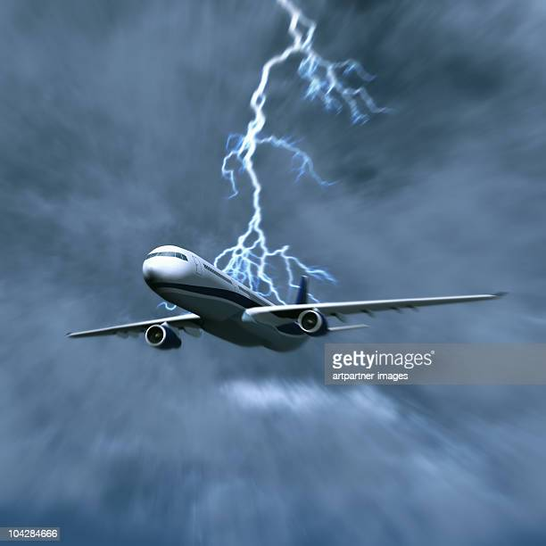 Airplane in a Thunderstorm with Lightning