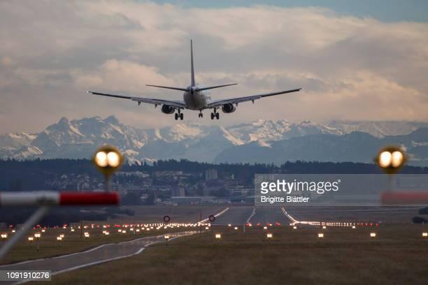 airplane in zürich - 着陸する ストックフォトと画像